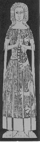 Lady Maud Foxley, 1378  heraldic surcote, short-sleeved with tippets frilled veil