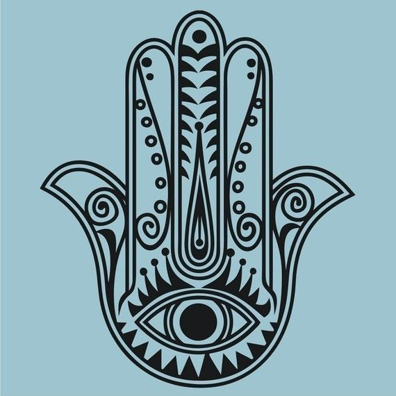 Traditional hamsa wall decal sticker, vinyl art