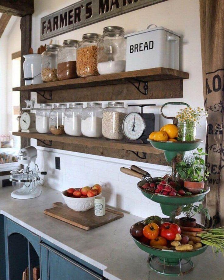 Jars for Staples on Rustic Shelves