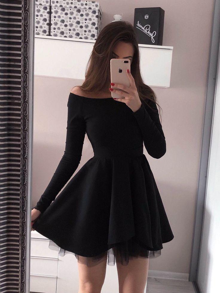 Long Sleeve Black Homecoming Dresses Mini Short Red Prom Dress ARD1733