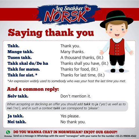 Saying thank you ✔ #jegsnakkernorsk #norsk #norge #norwegian #norway #noruegues #bokmål #polyglot #poliglota #sueco #swedish #sweden #svenska #dansk #danish #denmark #norvege #france #language #frances #russia #germany #spain #world