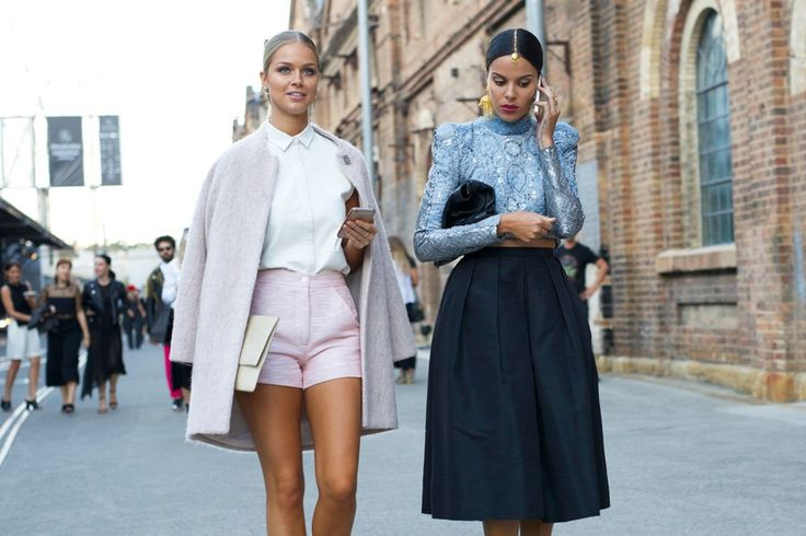 pastel pink short, white collared shirt, oatmeal coat, satin top, pleated skirt, friends who rock the same middle hair part and sleek pony, love.