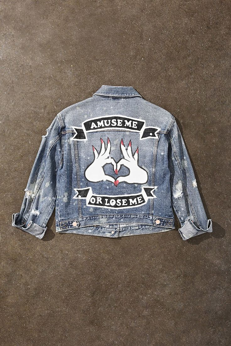Painted Distressed Denim Jacket                                                                                                                                                                                 More