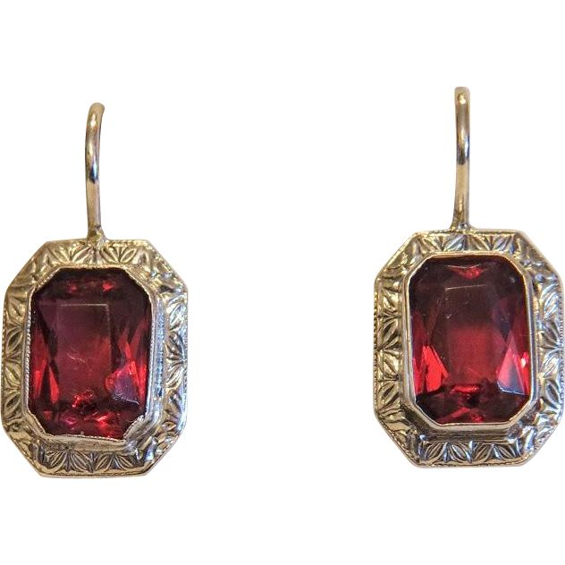 Vintage red Tourmaline earrings,silver 800, ca.1970 from akaham on Ruby Lane