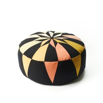 Moroccan Pouf, Black, Abricot,Nutmeg, Powder rose