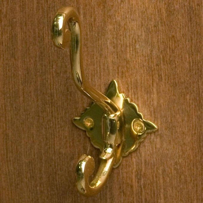 Byington Solid Brass Double Coat Hook - Polished Brass