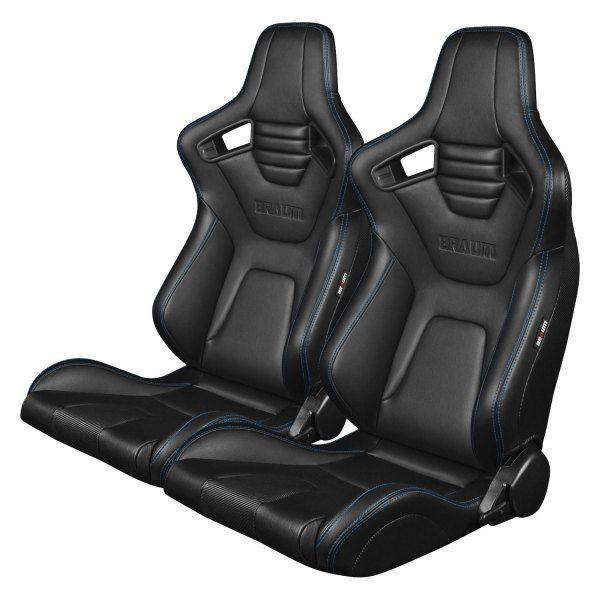 Braum® - Elite-X Black Leatherette Carbon Fiber Sport Seats with Blue Stitching