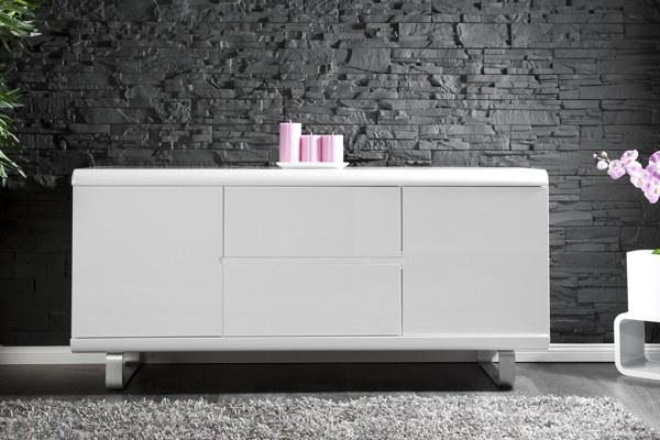 Design Wohnwand Straight ~ Design Sideboard SPACY weiss Hochglanz und Eiche 2 Türen 2 Schubladen