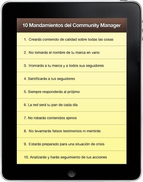 Los 10 Mandamientos del Community Mamager.  #cm #redessociales