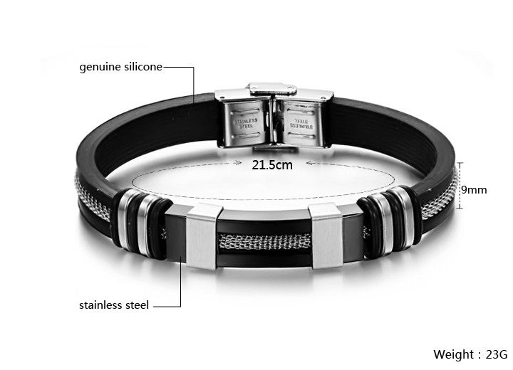 B73 OPK JEWELRY SILICONE and STAINLESS STEEL BRACELET  $14.99