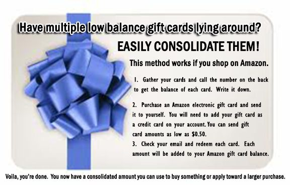 Consolidate your low balance gift cards.  Will work with Visa, Amex or MasterCard gift cards.  Will not work with store specific cards.