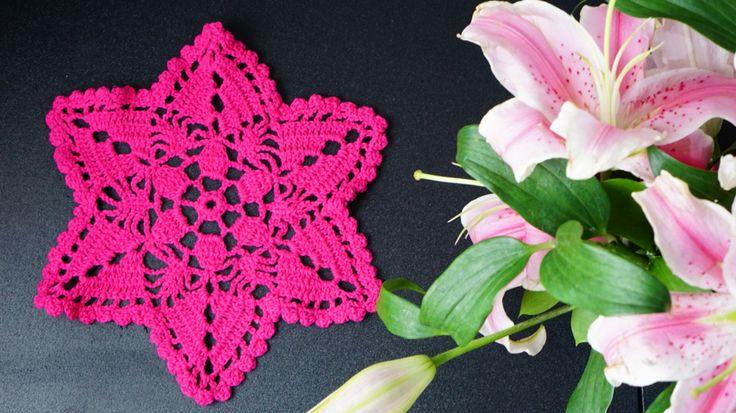 Star shaped crochet coaster  #crochet #coaster #fuschia #star
