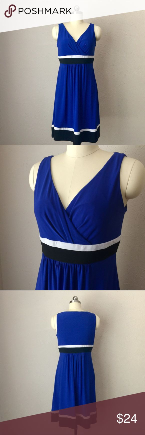 """CHAPS Ralph Lauren Colorblock Mixed-Media Dress Stylish, figure flattering knee-length dress from CHAPS line. Empire waist, sleeveless, Surplice v-neck. Mixed media blue with black and white stripes - polyester and elastane. Excellent condition! Length: 36""""  Bust: 17"""" flat across Chaps Dresses"""
