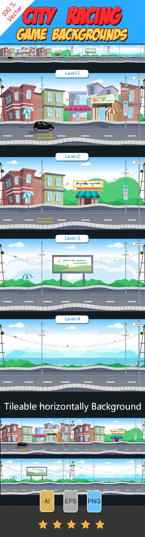 City Racing Game Background — Vector EPS #background #game • Available here → https://graphicriver.net/item/city-racing-game-background/10015516?ref=pxcr