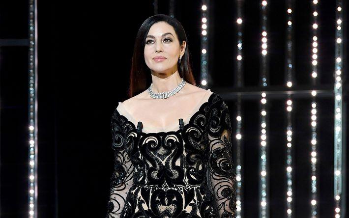 Download imagens Monica Bellucci, A atriz italiana, vestido preto, morena, Moda italiana modelo, mulheres bonitas