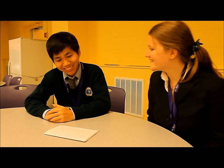 St. Rose High School gphomestay student, Jay Liang, talks to senior, Kate Tombs, about their experiences in cross-cultural education. (Belmar, NJ)