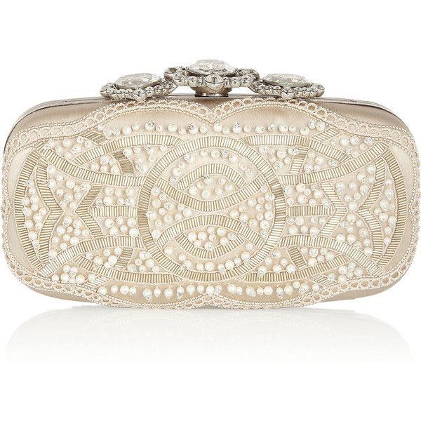 Oscar de la Renta Crown Goa Swarovski crystal-embellished satin clutch ($2,250) ❤ liked on Polyvore featuring bags, handbags, clutches, oscar de la renta, bags - clutches, clutch bag, neutrals, embellished purse, hand bags and clasp purse