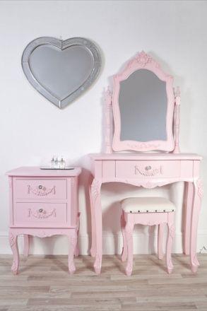 Pink Girls Dressing Table Stool & Bedside Set - Sophie Pink
