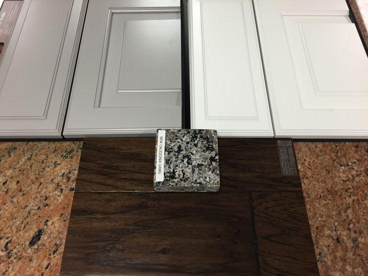 New Caledonia Granite   Painted Linen Cabinet   Gray Rushmore Cabinet   Tumbleweed engineered hardwood