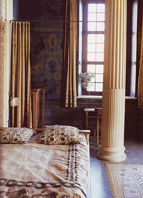 Villa kerylos c te d azur bedroom dedicated to eros the god of love in australian vogue - Villa de vacances vogue interiors ...