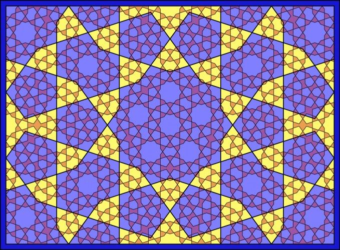 Self-similar Islamic geometric pattern with 5-fold symmetry in the Persian type A style.