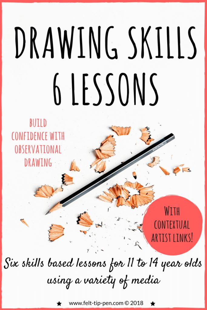 Build confidence with observational drawing ✏️ with these six lessons incuding contextual artist links. Various media, aimed at developing skills in KS3 students (11 to 14 years old). #drawinglessons #drawing #artteacher www.felt-tip-pen.com