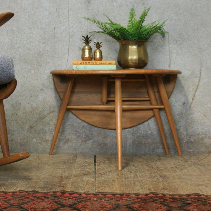 Mid Century Ercol Ercolani Elm Coffee Table Vintage