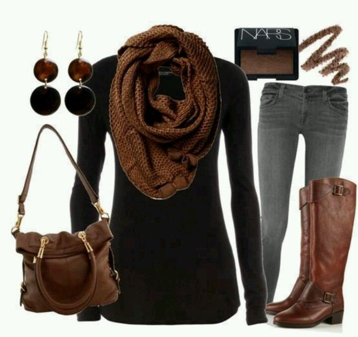 Outfit Ideas for Brown Boots   Brown, black, and grey outfit   Clothing ideas