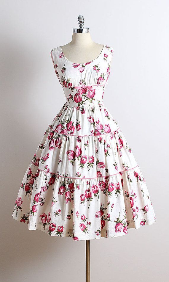96231f1b3ce3 The seam and little pink ribbon underneath the bust area    . ➳ vintage  1950s dress   white cotton   gorgeous pink floral ...