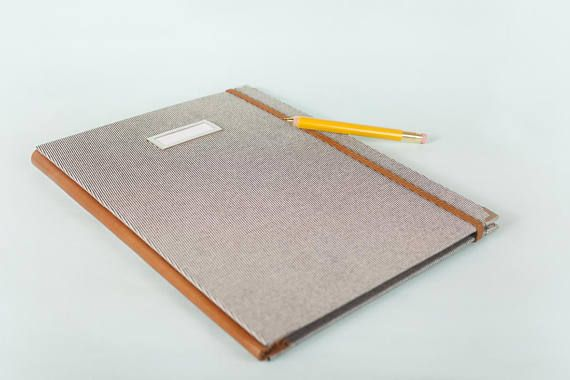 A4 Leather spine and Elastic band Fabric Folio folder