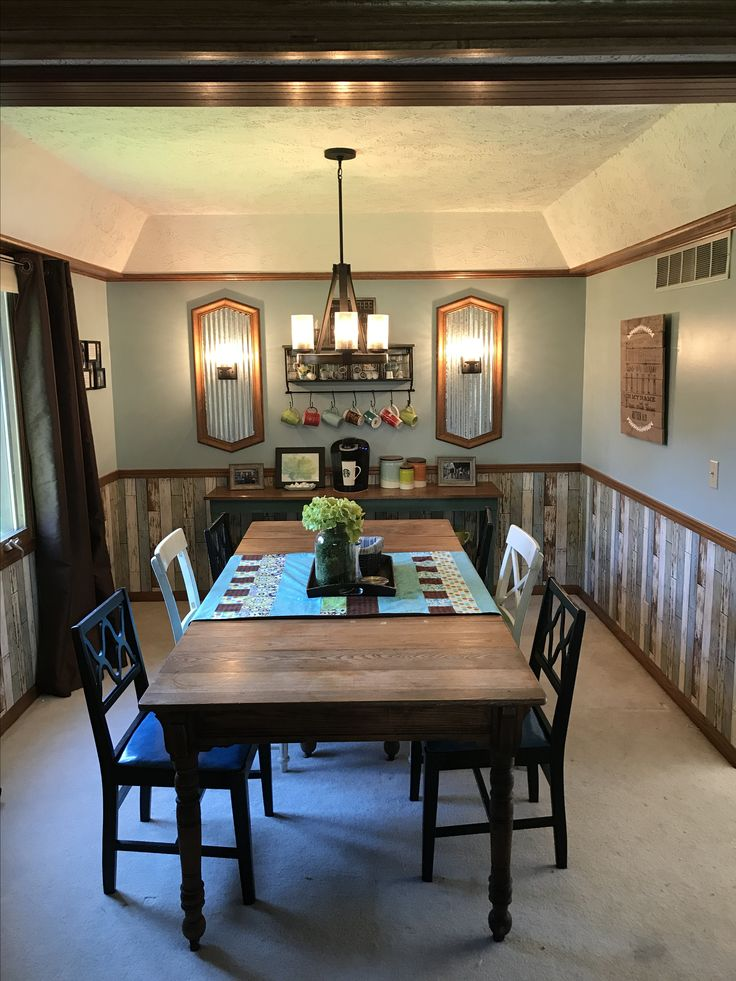 After Formal Dining Room Turned Comfortable Rustic With A Convenient Coffee Bar We Eat