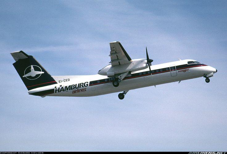 De Havilland Canada DHC-8-311 Dash 8, Hamburg Airlines, EI-CED, cn 283, 50 passengers, first flight 21.6.1991, Hamburg delivered 1.11.1991. Foto: Amsterdam, Netherlands, early 1990s.
