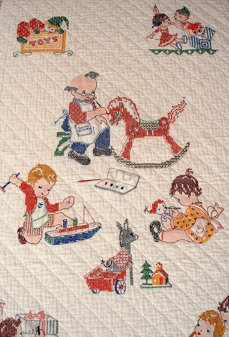 Vintage baby quilt; embroidered pictures