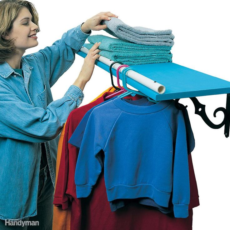 Hanger Shelf - Sometimes you just need another place to hang clothes, like on the shelf over your washer and dryer. Turn the edge of that shelf into a hanger rack by predrilling some 3/4-in. plastic pipe and screwing it to the top of the shelf along the edge.  Get more laundry room organizing ideas.laundry room organizing ideas