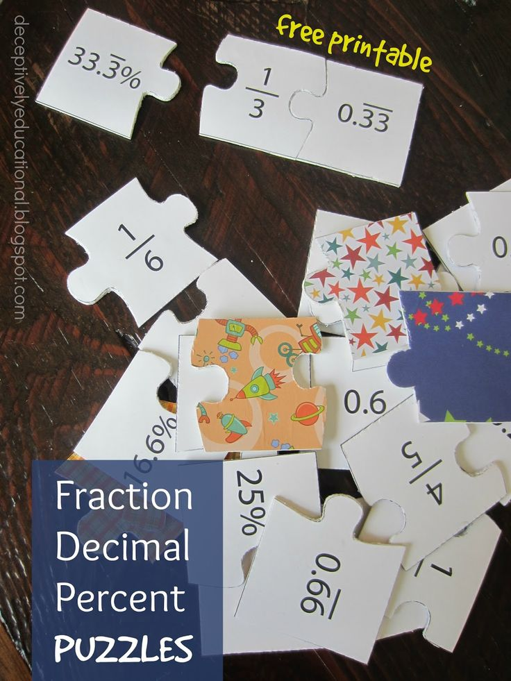 Relentlessly Fun, Deceptively Educational: Fraction, Decimal, and Percent Puzzles (free printable)