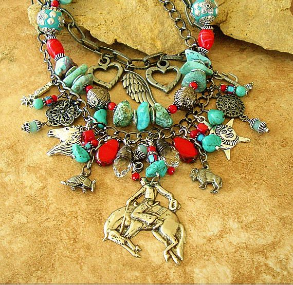 Assemblage Statement Necklace, Turquoise Jewelry, Vintage Southwest  Necklace, Cowgirl Statement Necklace