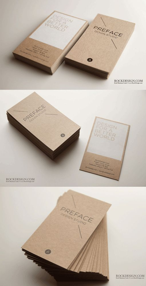 Thick Eco Friendly Kraft Paper Business Card for Preface Design Studio:  Paper: Eco Kraft Paper Weight: 18.