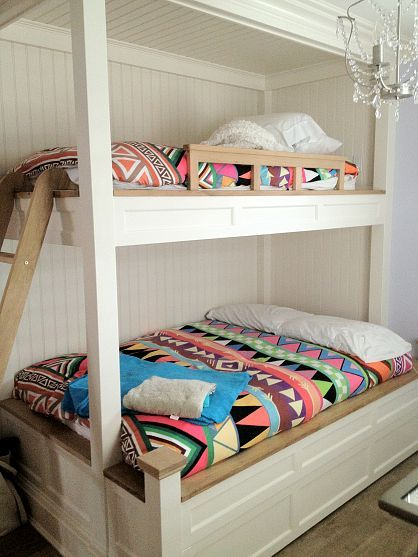 White bunk beds... I really like this bunk bed! Hope I can find somebody to custom build it for me!
