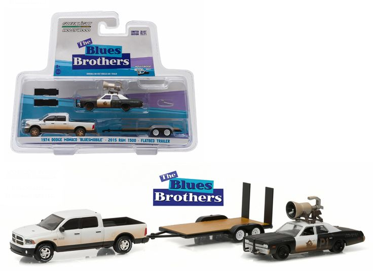 """2015 Dodge Ram and 1974 Dodge Monaco """"Bluesmobile"""" on Flatbed Trailer """"Blues Brothers"""" Movie (1980 ) 1/64 Diecast Model Cars by Greenlight - Brand new 1:64 scale car models of 2015 Dodge Ram and 1974 Dodge Monaco """"Bluesmobile"""" on Flatbed Trailer """"Blues Brothers"""" Movie (1980 ) die cast car models by Greenlight. Limited Edition. Detailed Interior, Exterior. Metal Body. Comes in a blister pack. Officially Licensed Product. Dimensions Approximately L-7 Inches Long.-Weight: 2. Height: 8. Width…"""