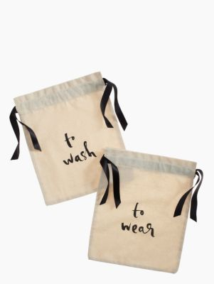thanks to an insatiable curiousity to see new places (and the interesting people who live there), we've learned to pare down our packing list to just the essentials. one thing we never leave home without? these whimsical drawstring travel bags made for stowing your jewelry, shoes, lingerie and more. cut from lightweight canvas, each small pouch stacks easily inside your suitcase and helps keep things clean and tangle free from takeoff to touchdown.