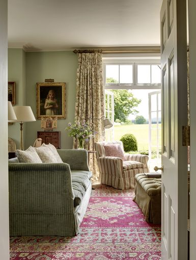 classic English sitting room, the Old Rectory, designer Melissa Wyndham - likes the shades of green and the rug