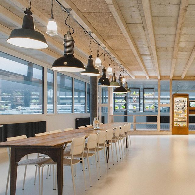 Communal Dining Table Felfel Goodfoodatwork Head Office Zurich Interiors Industriallighting Communaltabl In 2020 Dining Table Rustic Dining Table Rustic Dining