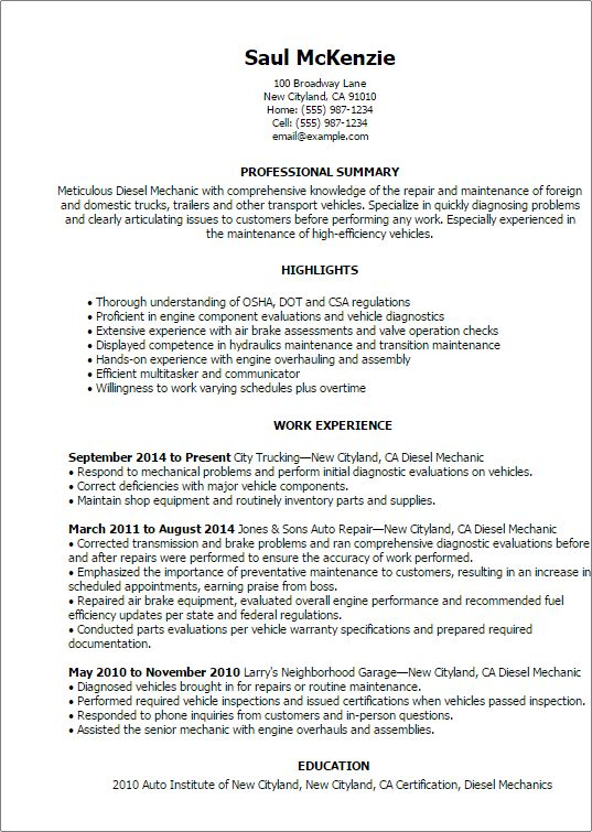 Mechanic Resume Cover Letter] Vehicle Fleet Manager Fleet Manager ...