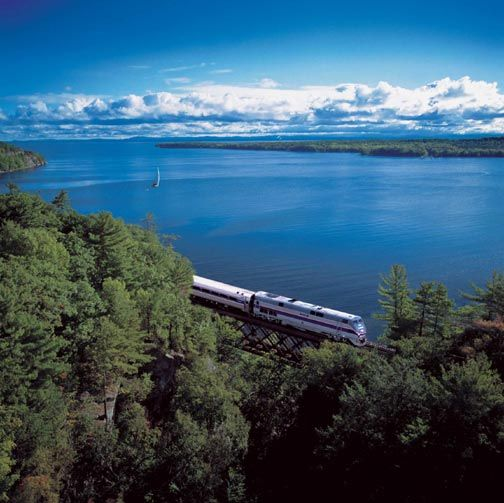 The California Zephyr (Amtrak) rides from Chicago to San Francisco (with stops in Denver, Reno and Sacramento).