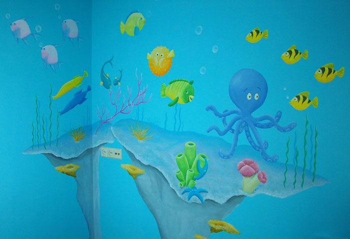 Onderwater wereld muurschildering: grappige vissen en koraal muurschildering ontworpen en gemaakt door BIM Muurschildering.  fish coral mural painting nursery