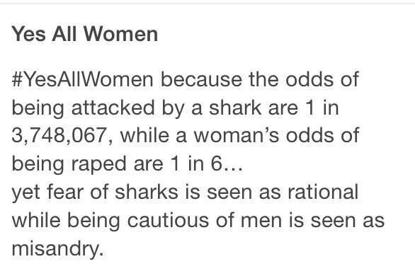 "Irrational fears are less ""scary"" than the real ones. John Williams never wrote a frightening theme music for impending sexual assault like he did for ""Jaws"". Perhaps we should ask him to do so.  #YesAllWomen"
