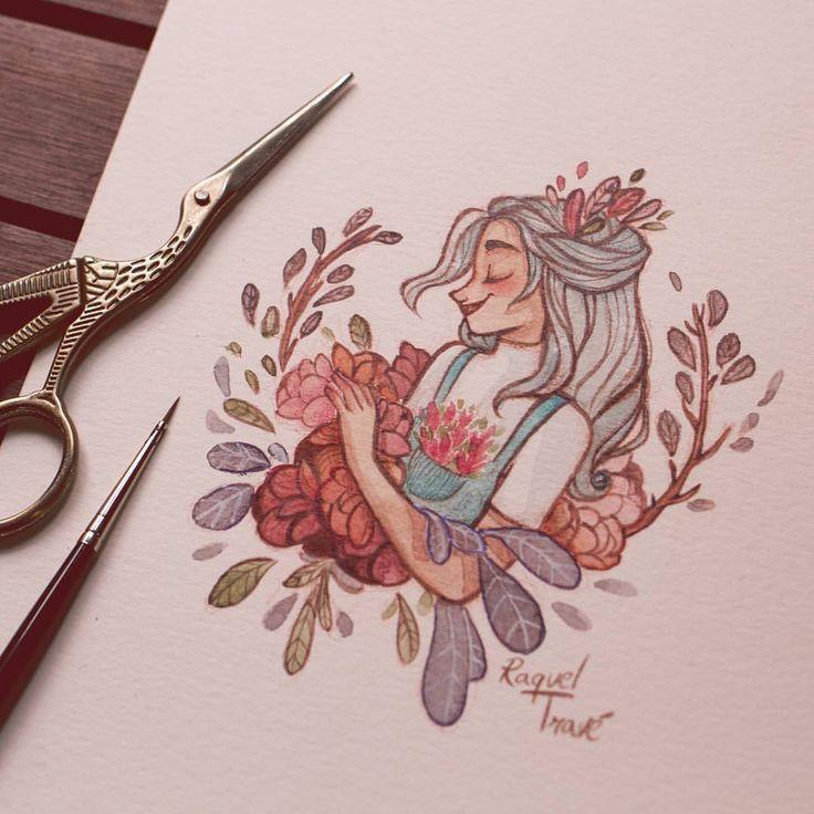 Flower girl by @raqueltraveillustration