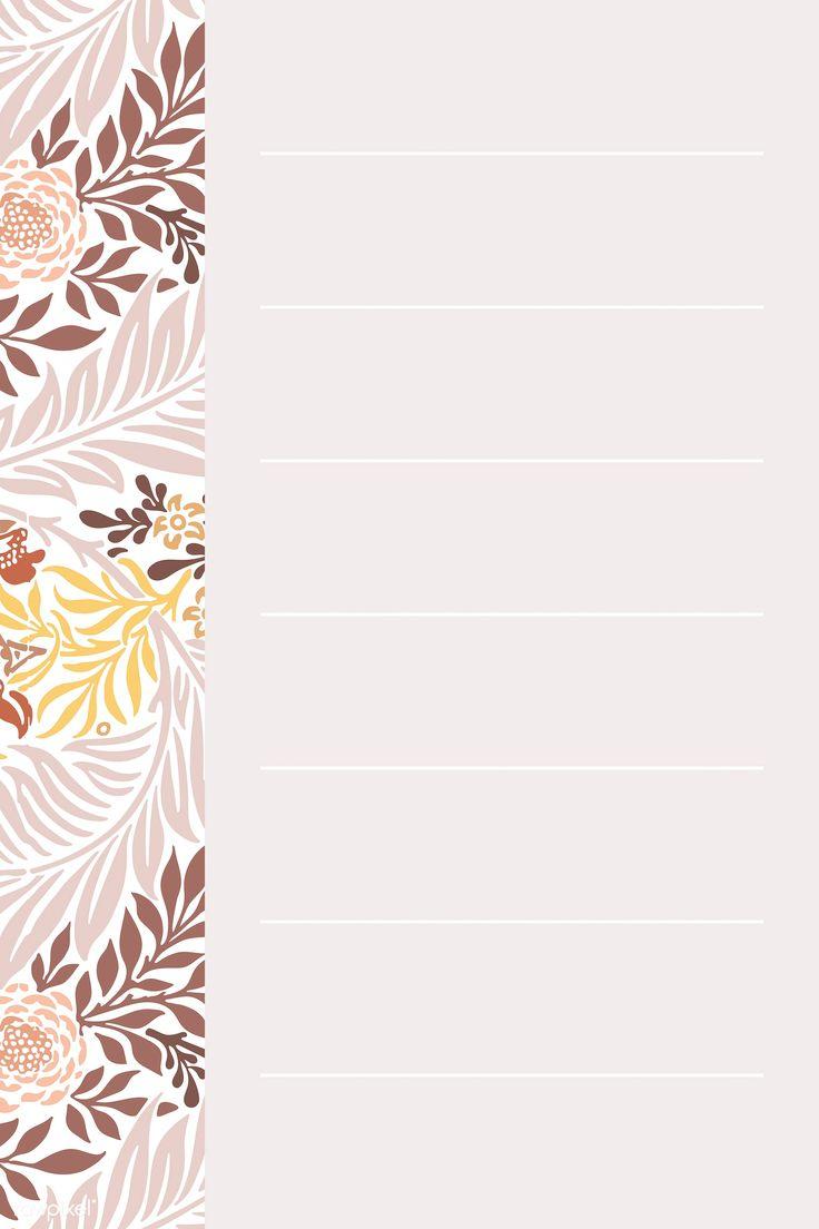 Download premium vector of Brown William Morris Pattern notepaper template