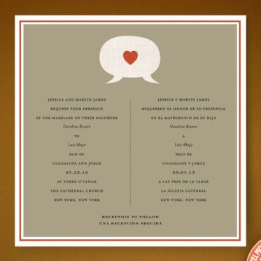heart diy bilingual wedding invitation multiculturally wed cory and stephanies wedding pinterest heart diy and crafts and products - Bilingual Wedding Invitations