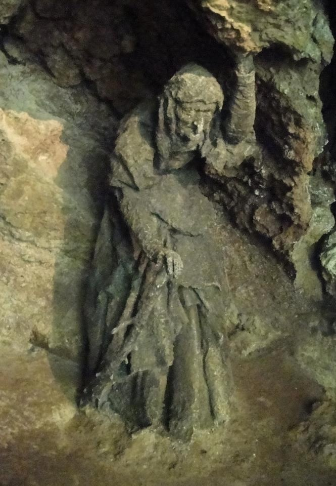 Mother Shipton (i.e. Ursula Southeil or Southill), a famous English soothsayer and prophetess who lived from c 1488 to 1561. A statue of her in Mother Shipton's Cave near Knaresborough in Yorkshire where she reputedly was born. (Click to view full size photo.)